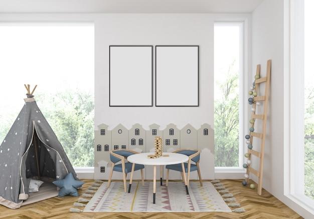 Kinderkamer met lege dubbele frames