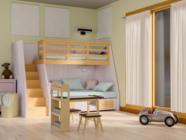 Kinderkamer met lege poster.