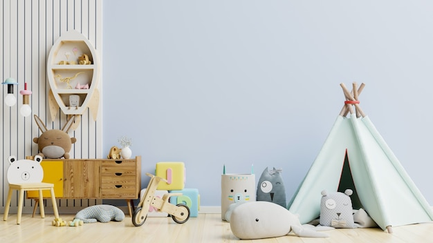 Kinderkamer met wandlamp blauw .3d rendering