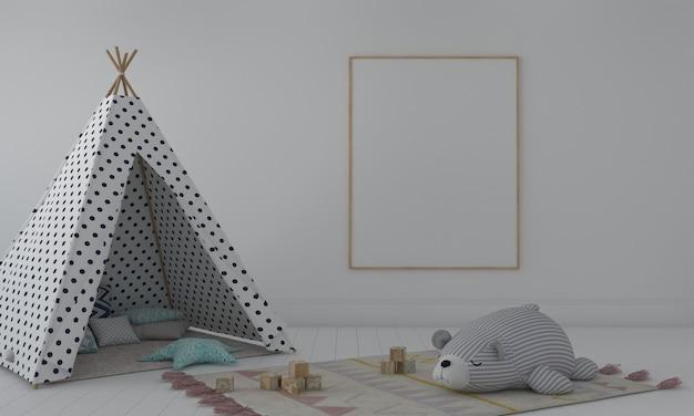Kinderkamer, speelhuis, kindermeubilair met speelgoed en frame-mockup
