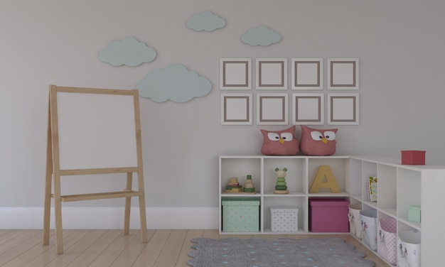 Kinderkamer, speelhuis, kindermeubilair met speelgoed en mockup met 8 frames
