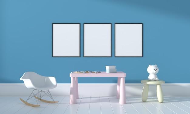 Kinderkamer, speelhuis, kindermeubilair met speelgoed en mockup met drie frames