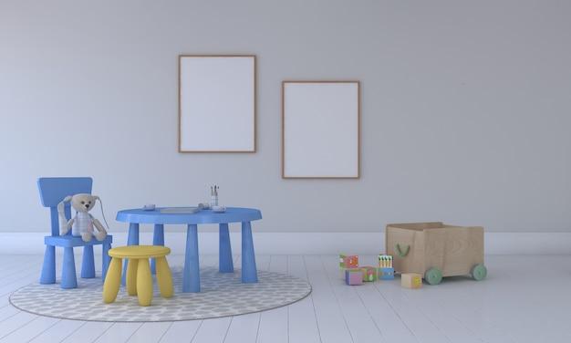 Kinderkamer, speelhuis, kindermeubilair met speelgoed en mockup met twee frames