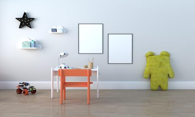 Kinderkamer, speelhuis, kindermeubilair met speelgoed en mockup met twee frames Premium Foto