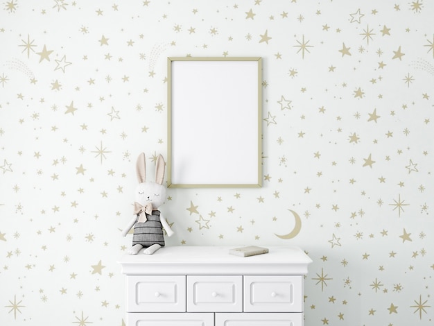 Kinderkamermodel met gouden sterrenbehang