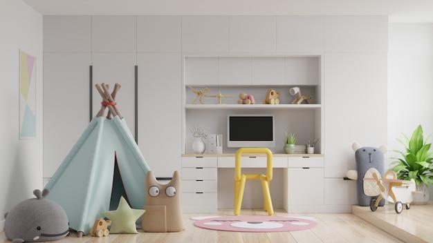 Kinderslaapkamer met computer