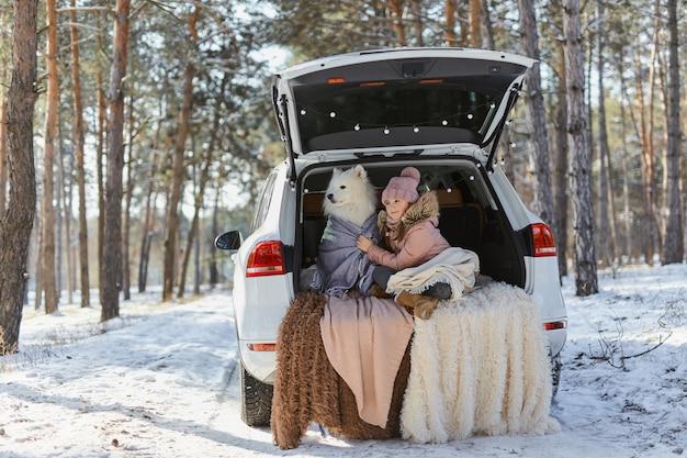 Kindmeisje zit in de kofferbak van de auto met haar huisdier, een witte hond samojeed, in de winter in het besneeuwde dennenbos, gewikkeld in warme dekens