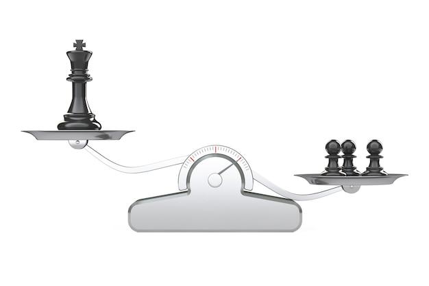 King en drie chess peons over balance scale op een witte achtergrond. 3d-rendering