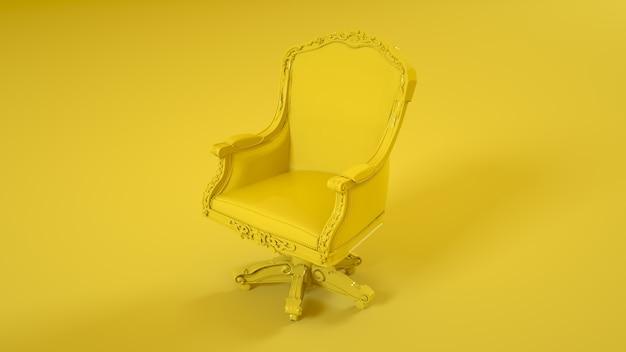 King throne fauteuil geïsoleerd op gele achtergrond. 3d-afbeelding.