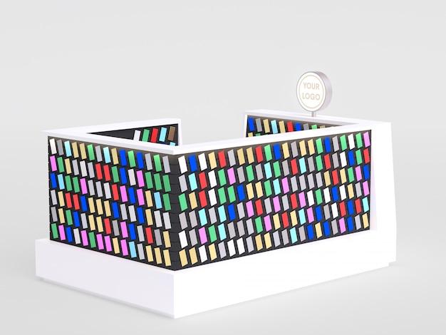 Kiosk van smartphoneaccessoires die telefoongevallen en andere smartphonepunten binnen van een wandelgalerij verkopen. 3d render.
