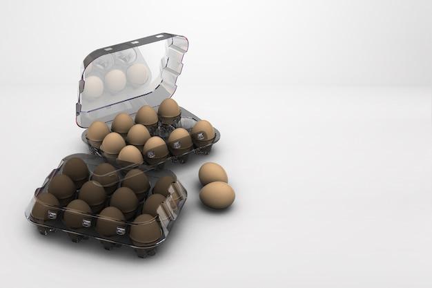 Kip bruine eieren in kartonnen doos geïsoleerd op gekleurd oppervlak