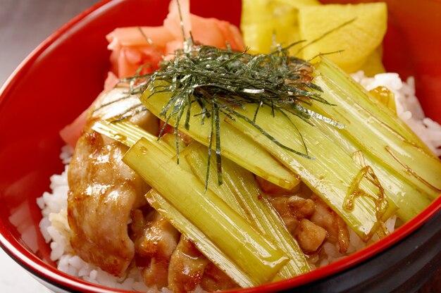 Kip met rijst en bamboe. japans eten