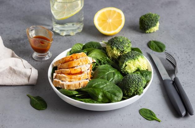 Kipfilet met spinazie, broccoli en citrusdressing