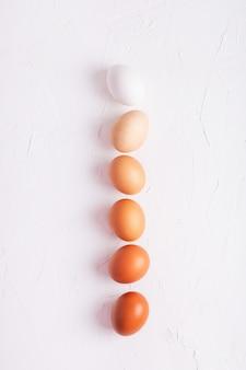 Kippeneieren in een lijn op een witte achtergrond