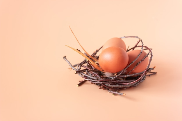 Kippeneieren in een nest op beige
