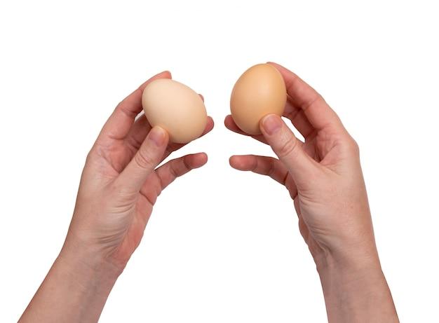 Kippeneieren in geïsoleerde handen