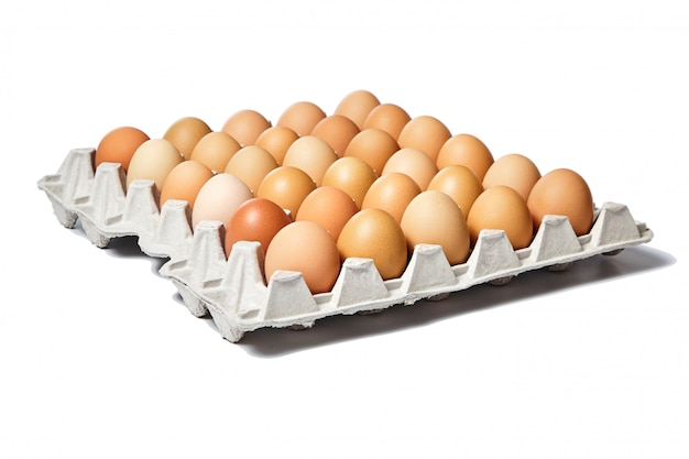 Kippeneieren in het kartonnen eierrekje