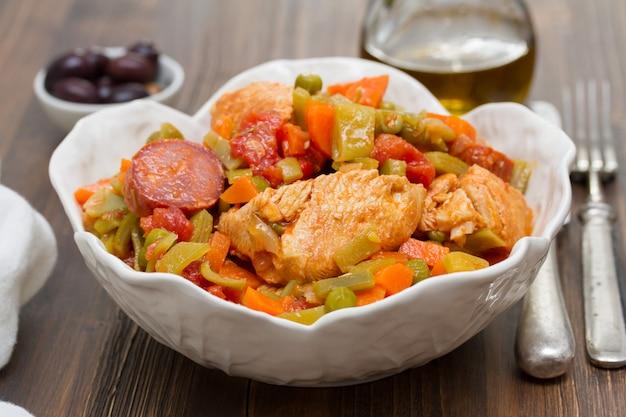Kippenhutspot met groenten in schotel