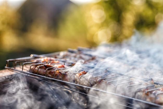 Kippenvlees dat op een barbecuegrill wordt gebraden.