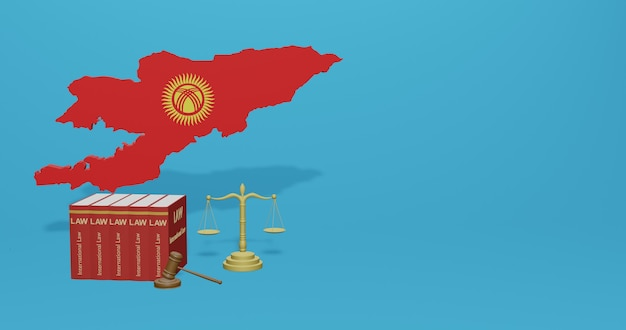 Kirgizische wet voor infographics, sociale media-inhoud in 3d-weergave