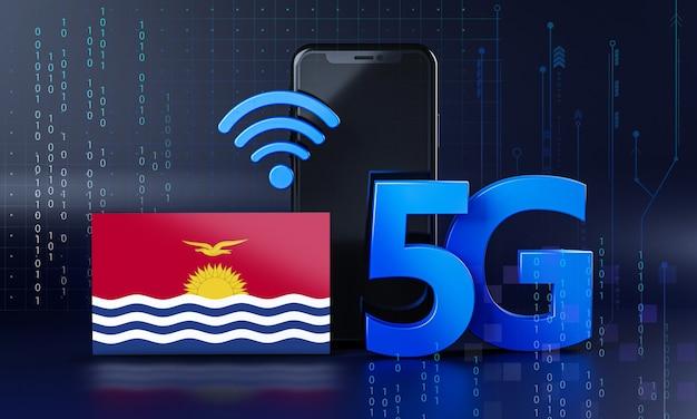 Kiribati klaar voor 5g-verbindingsconcept. 3d-rendering smartphone technische achtergrond