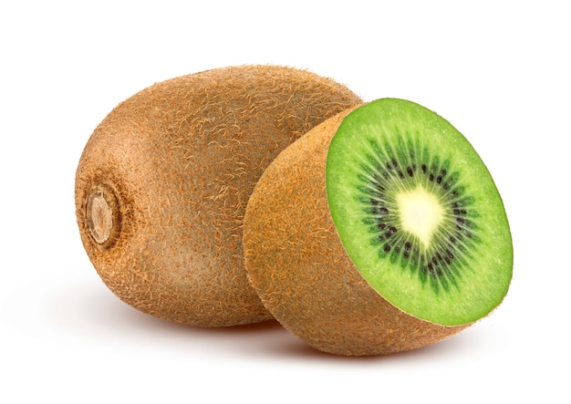 Kiwifruit op wit wordt geïsoleerd dat