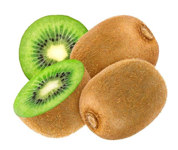 Kiwifruit op witte achtergrond wordt geïsoleerd die