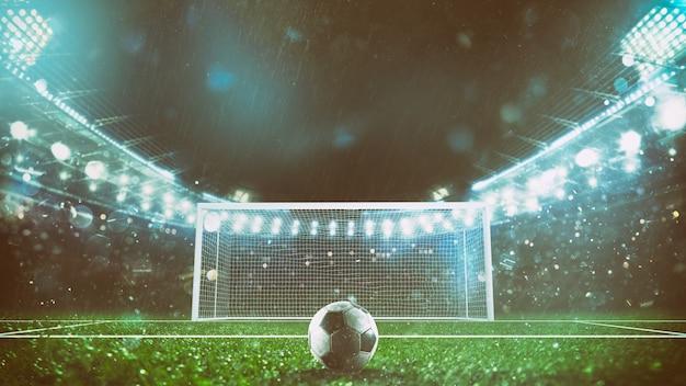 Klaar om de penalty te schoppen en een doelpunt te scoren in het stadion