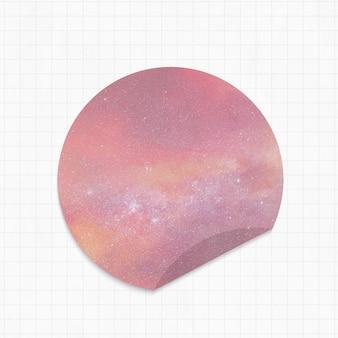 Kladblok met roze melkwegachtergrond ronde vorm