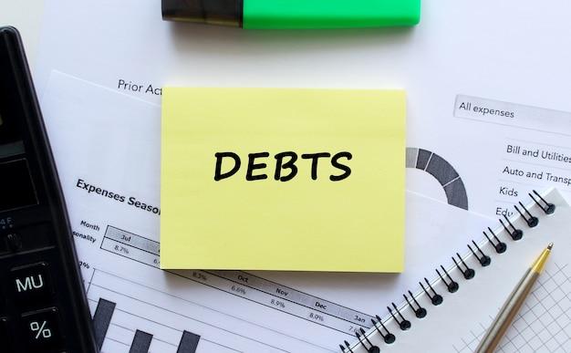 Kladblok met tekst debts op een witte tafel, in de buurt van kantoorbenodigdheden, pen en rekenmachine. bedrijfsconcept.