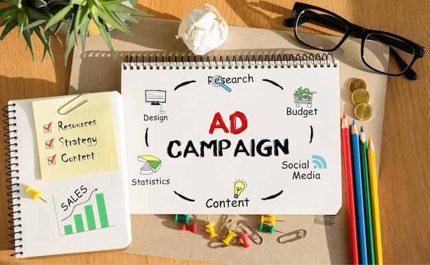 Kladblok met tools en opmerkingen over advertentiecampagne