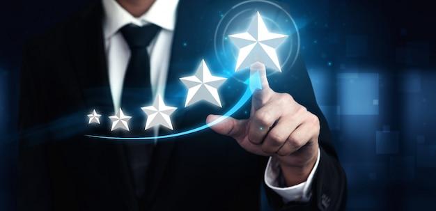 Klantbeoordeling tevredenheid feedback enquête concept.
