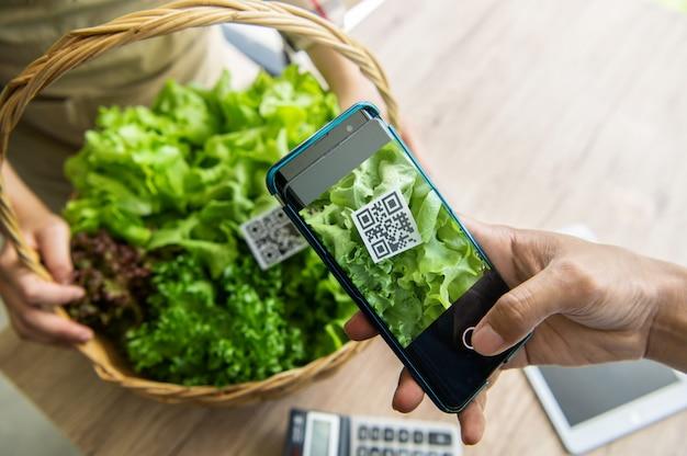 Klanten kopen biologische groenten van hydrocultuur boerderij en betalen met behulp van qr-code