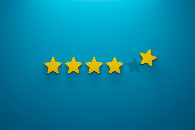 Klantervaring en tevredenheidsconcept icon vijf sterren uitstekende beoordeling op achtergrond