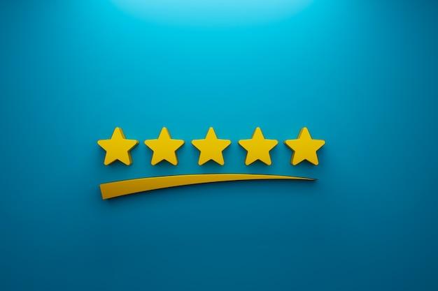 Klantervaring en tevredenheidsconcept. pictogram vijf sterren uitstekende beoordeling op de achtergrond. 3d illustratie
