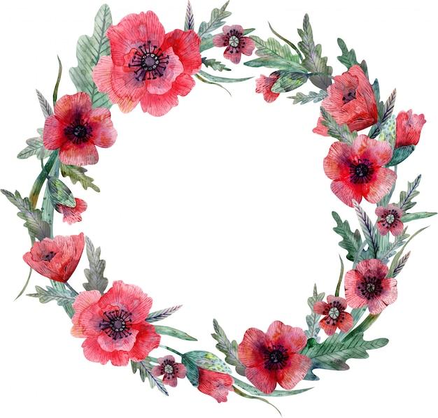 Klaproos krans. rode bloemen en groene bladeren. decoratie.