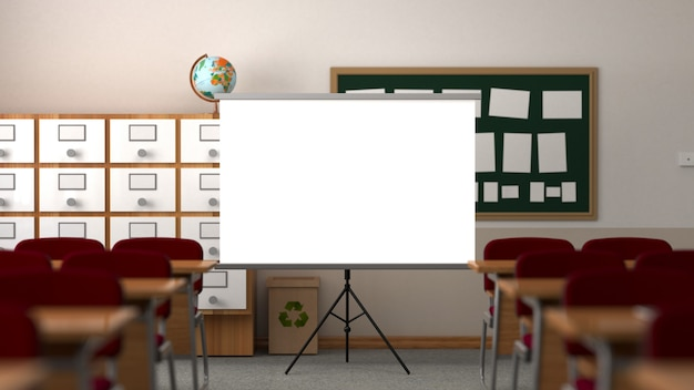 Klaslokaal met projectiescherm, tafel, stoelen, paneel en schoolkast.