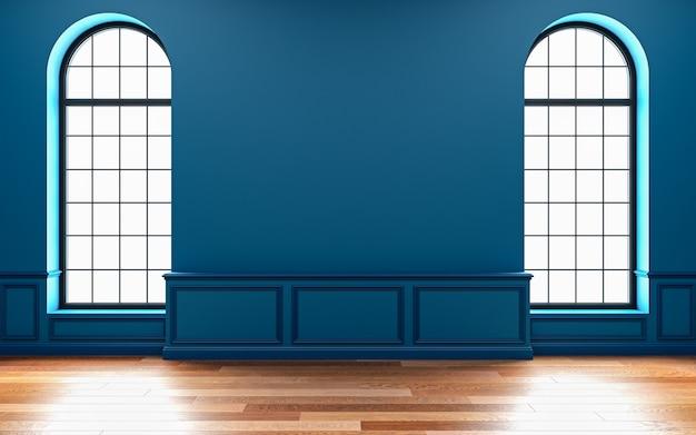 Klassiek blauw leeg interieur met raam. 3d render illustratie