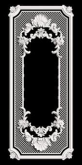 Klassiek frame met ornamentdecor dat op zwarte muur wordt geïsoleerd