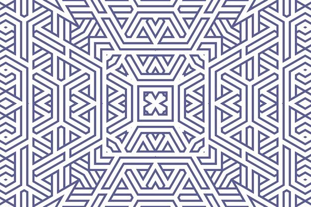 Klassiek geometrisch patroon als achtergrond met blauwe lijnen op wit, de illustratie van het decoratieornament. eenvoudige rechte blauwe lijnstrepen van verschillende ontwerpvormen