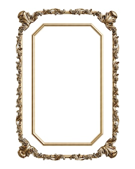 Klassiek gouden frame met ornamentdecor dat op witte achtergrond wordt geïsoleerd. digitale afbeelding. 3d-weergave