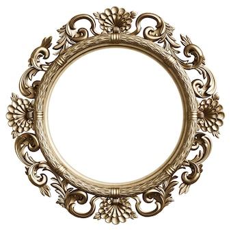 Klassiek gouden frame met ornamentdecor dat op witte achtergrond wordt geïsoleerd
