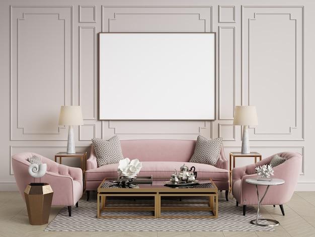 Klassiek interieur. bank, stoelen, bijzettafels met lampen, tafel met decor. witte muren met lijstwerk. visgraat op de vloer. 3d-rendering