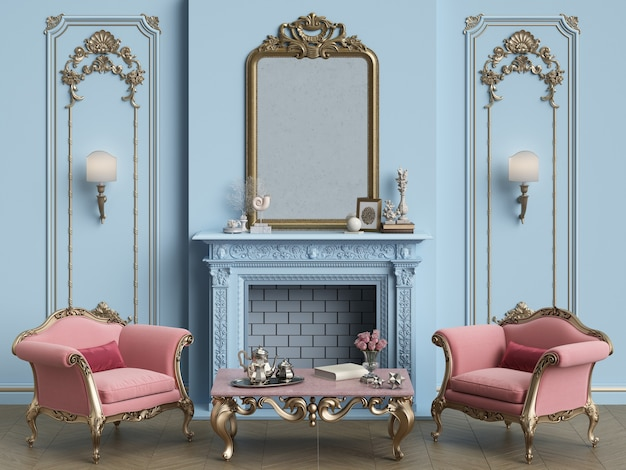Klassiek interieur in blauwe en roze kleuren met open haard. spiegel, muren met lijstwerk. klassieke fauteuils, uitgesneden tafel met decor.vloerparket visgraat. 3d-weergave