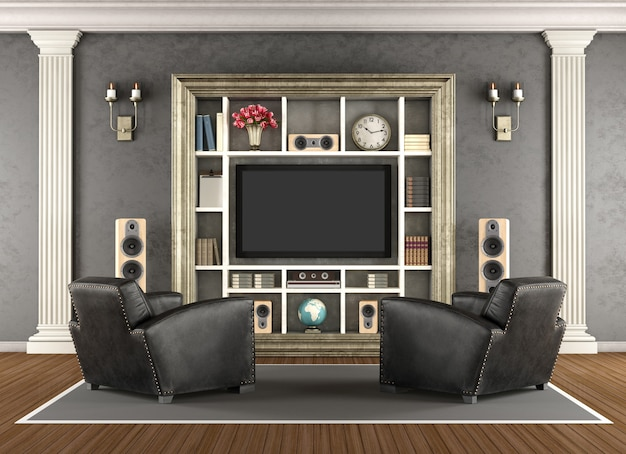 Klassiek interieur met homecinemasysteem. 3d-weergave