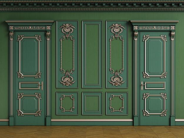 Klassiek interieur met houten boiserie met kopie ruimte
