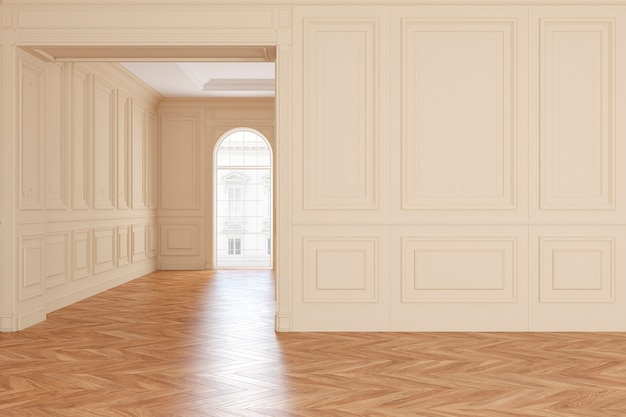 Klassiek leeg beige kamerbinnenland met parketvloer. 3d render illustratie.
