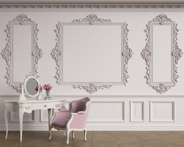 Klassiek meubilair in klassiek interieur met kopie ruimte. muren met ornated lijstwerk. vloerparket. digitale illustratie. 3d-rendering