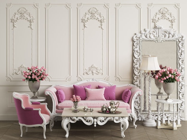 Klassiek meubilair in klassiek interieur met kopie ruimte