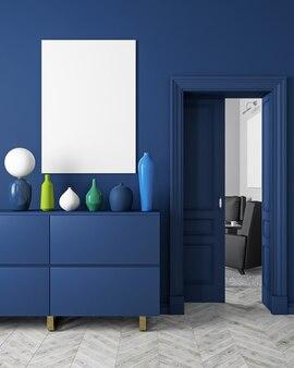 Klassiek, modern, donkerblauw interieur in scandinavische stijl met vazen, dressoir, console, deur, lamp, frame, houten vloer. 3d render illustratie